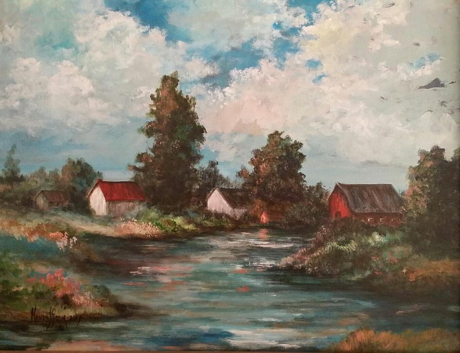 Impression Painting - Sunset On The Farm Pond by Kendra Sorum