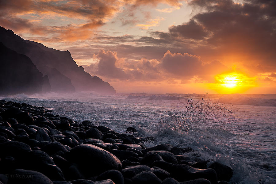 Sunset on the Kalalau by Tim Newton