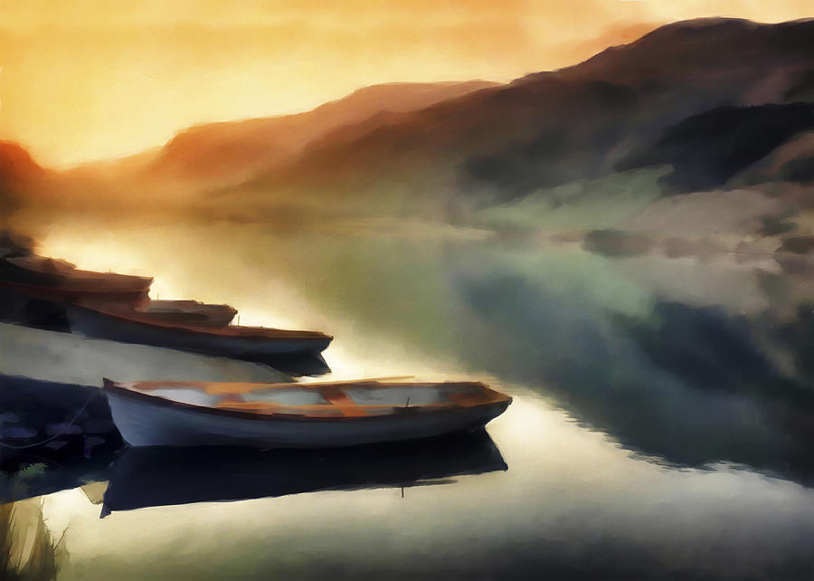 Peaceful Digital Art - Sunset On The Lake by David Ridley