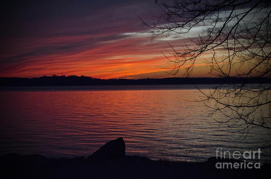 Background Photograph - Sunset On The Lake by Debra Johnson