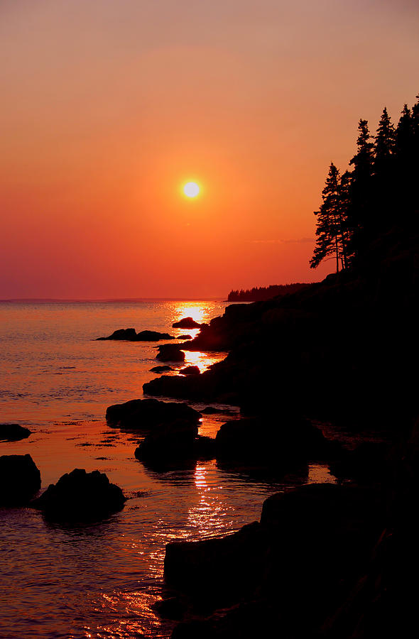 Acadia Photograph - Sunset on the Maine coast by Peggy Berger