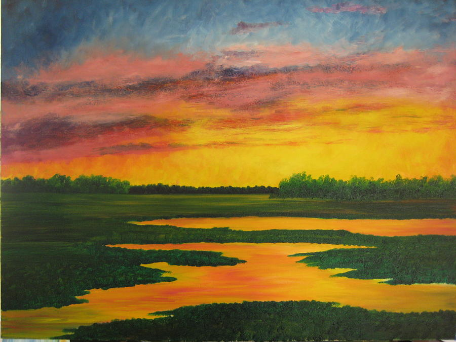 Water Painting - Sunset On The Marsh by Darla Brock