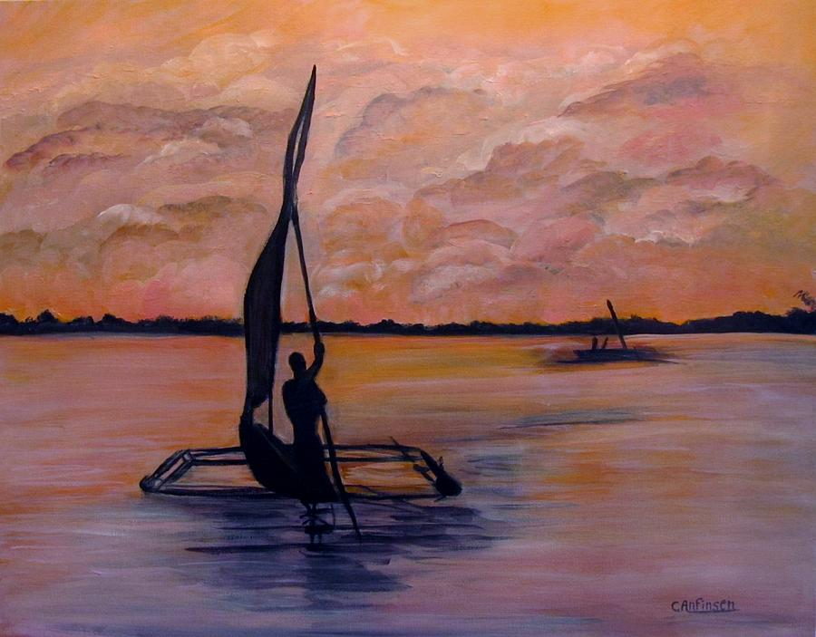 Sunset On The Nile Painting