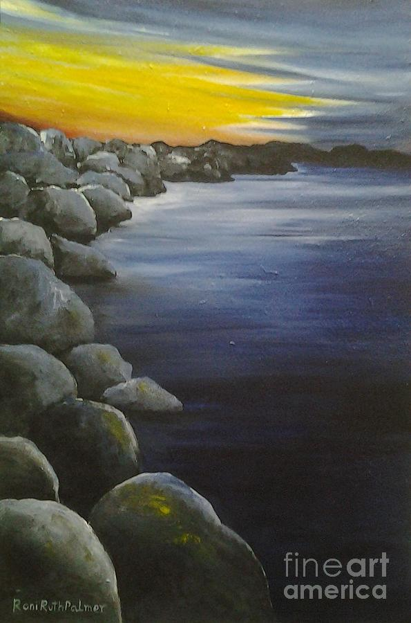 Sunset Painting - Sunset On The Rocks  by Roni Ruth Palmer