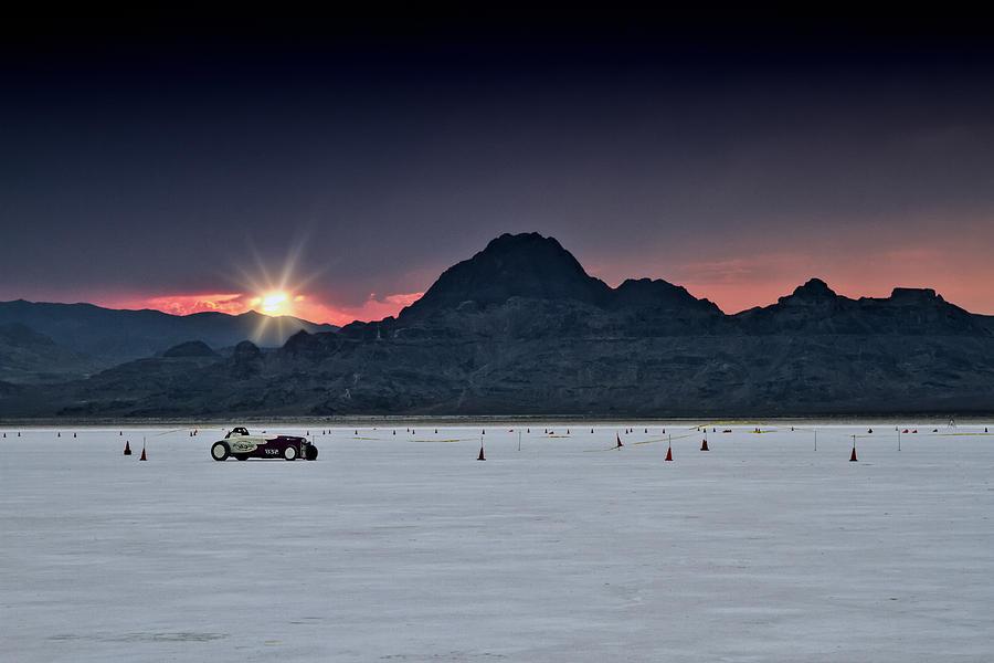 Bonneville Photograph - Sunset On The Salt Bonneville 2012 by Holly Martin