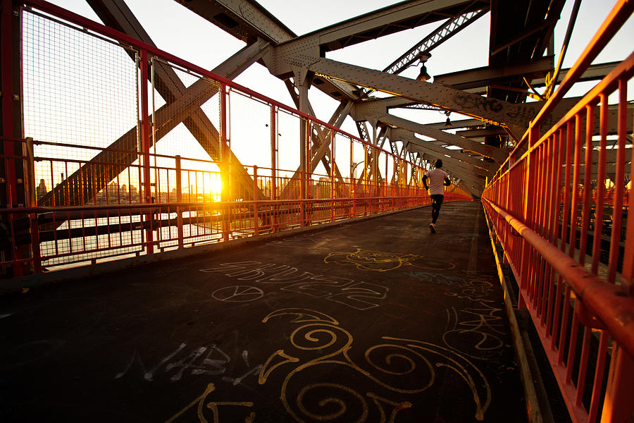 Nyc Photograph - Sunset On The Williamsburg Bridge - New York City by Vivienne Gucwa