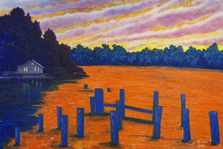 Orange Sunset on Island with Ocean View by Michele Fritz