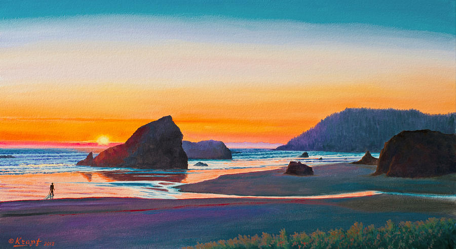 Seascape Painting - Sunset - Oregon Coast by Paul Krapf