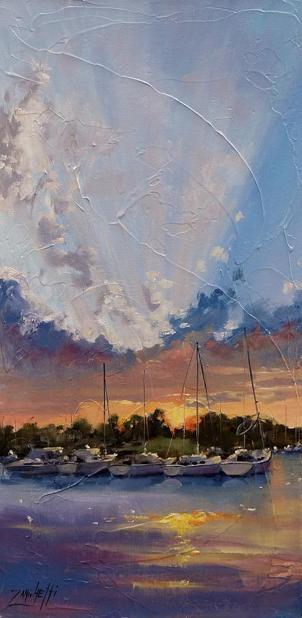 Sunset Painting - Sunset Over Bay Point by Laura Lee Zanghetti