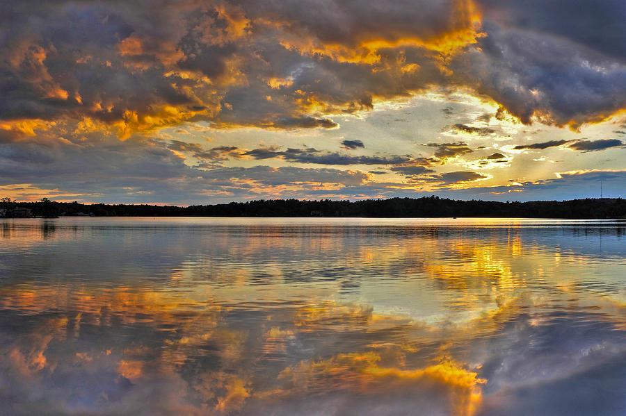 Blue Photograph - Sunset Over Canobie Lake by Sebastien Coursol
