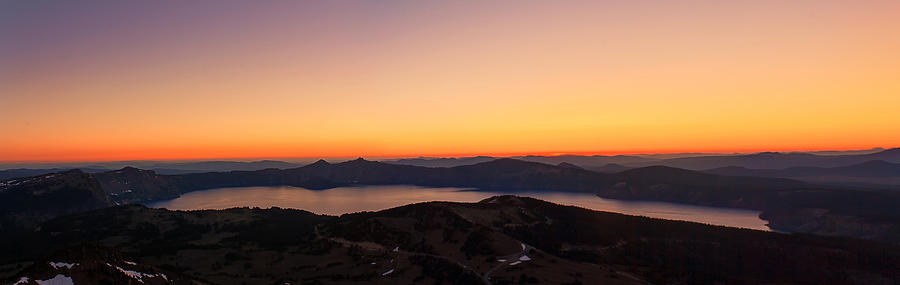Crater Lake Photograph - Sunset Over Crater Lake by Jaime Weatherford