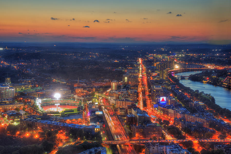 Sunset Over Fenway Park And The Citgo Sign Photograph