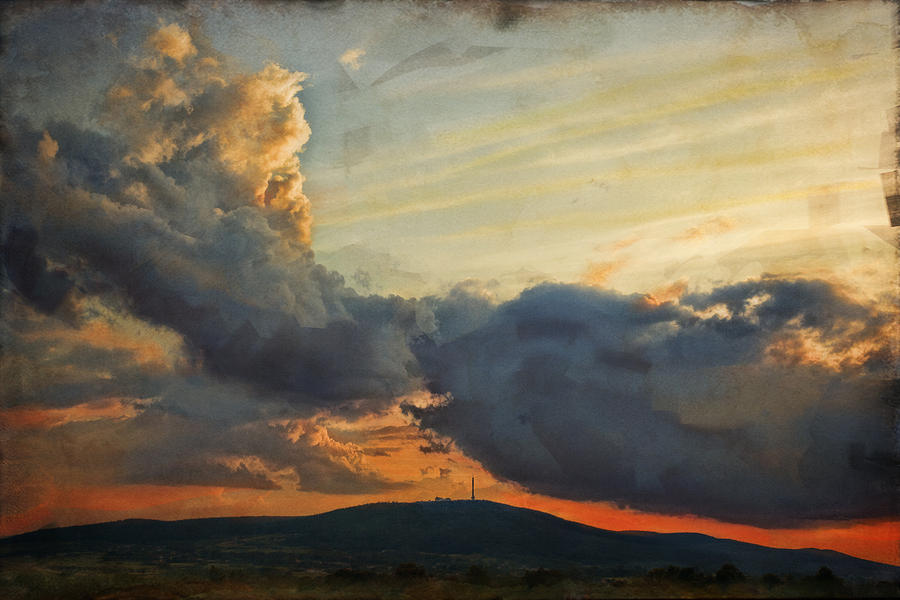 Digital Painting Photograph - Sunset Over Holy Cross Mountains by Anna Gora