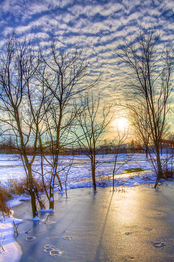 Winter Photograph - Sunset Over Ice by William Wetmore