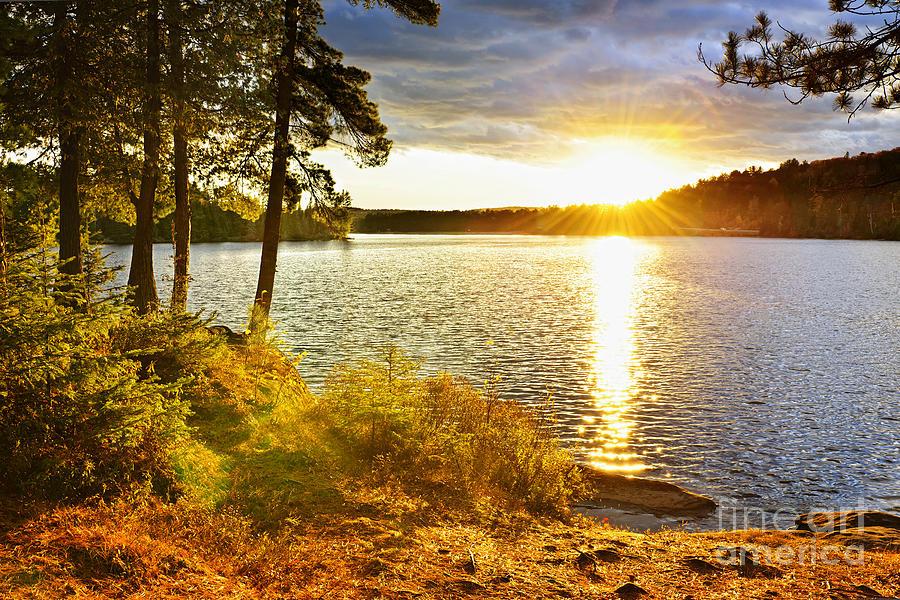 Sunset Photograph - Sunset Over Lake by Elena Elisseeva
