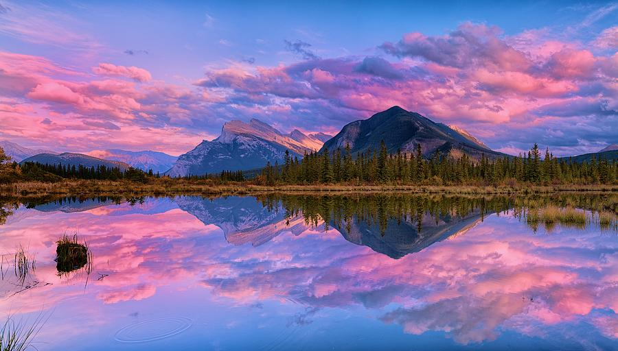 Sunset Over Mount Rundle by Dale J Martin