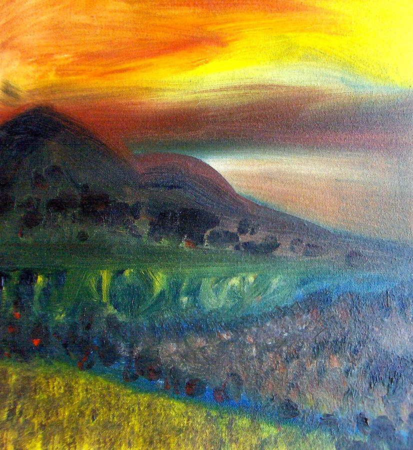 Landscape Painting - Sunset Over Mountains  by Michaela Kraemer