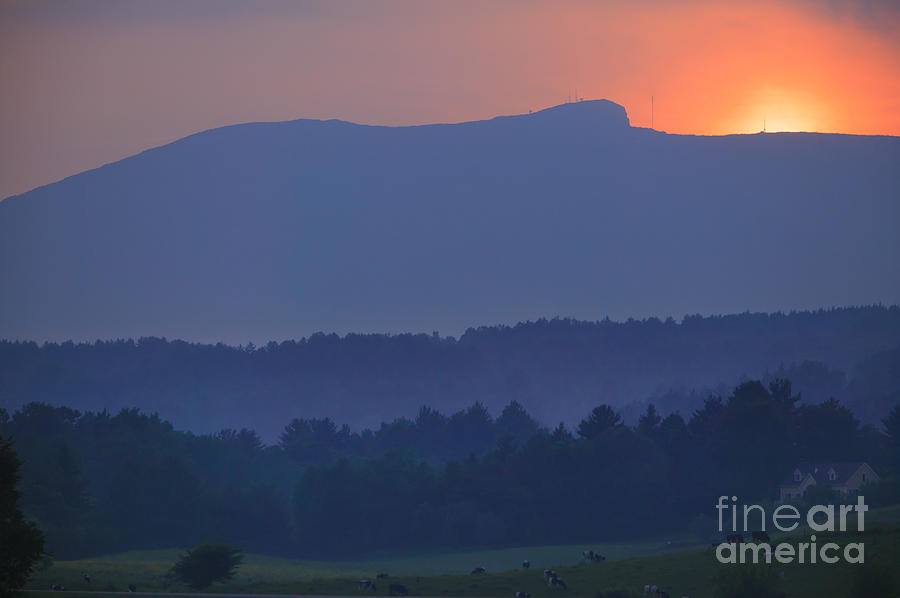 Sunset Over Mt. Mansfield In Stowe Vermont Photograph