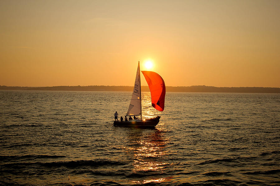 Sunset Photograph - Sunset Over Narragansett Bay by Allan Millora