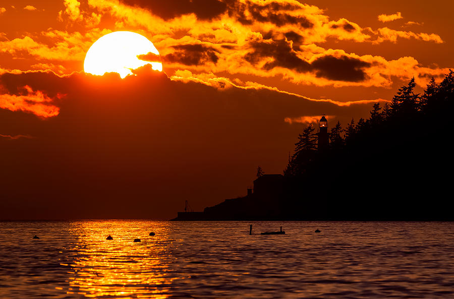 Sunset over Point Atkinson Lighthouse by Alexis Birkill