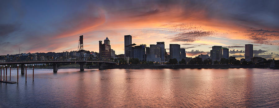 Portland Photograph - Sunset Over Portland Oregon Waterfront Panorama by David Gn