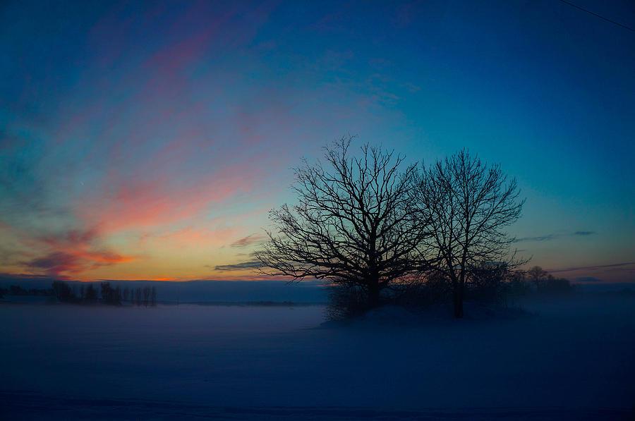 Landscape Pyrography - Sunset Over Sattuna by Jonas Lind