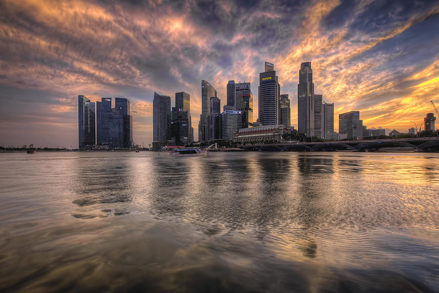 Singapore Photograph - Sunset Over Singapore Skyline by David Gn