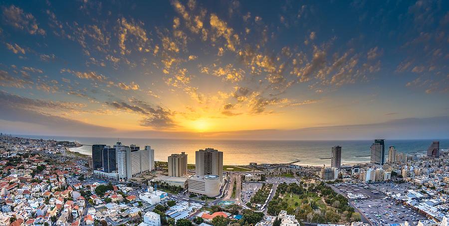 Sunset over Tel-Aviv Beach Photograph by Ilan Shacham