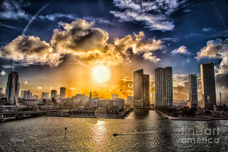 American Airlines Arena Photograph - Sunset Over The Arena Hdr by Rene Triay Photography