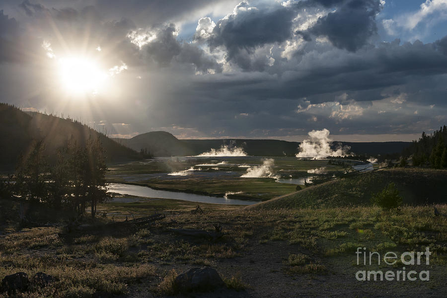 Landscape Photograph - Sunset Over The Firehole River - Yellowstone by Sandra Bronstein
