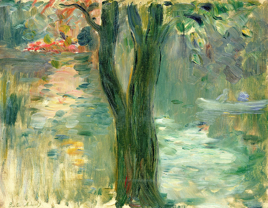 Berthe Morisot Painting - Sunset Over The Lake Bois De Boulogne by Berthe Morisot
