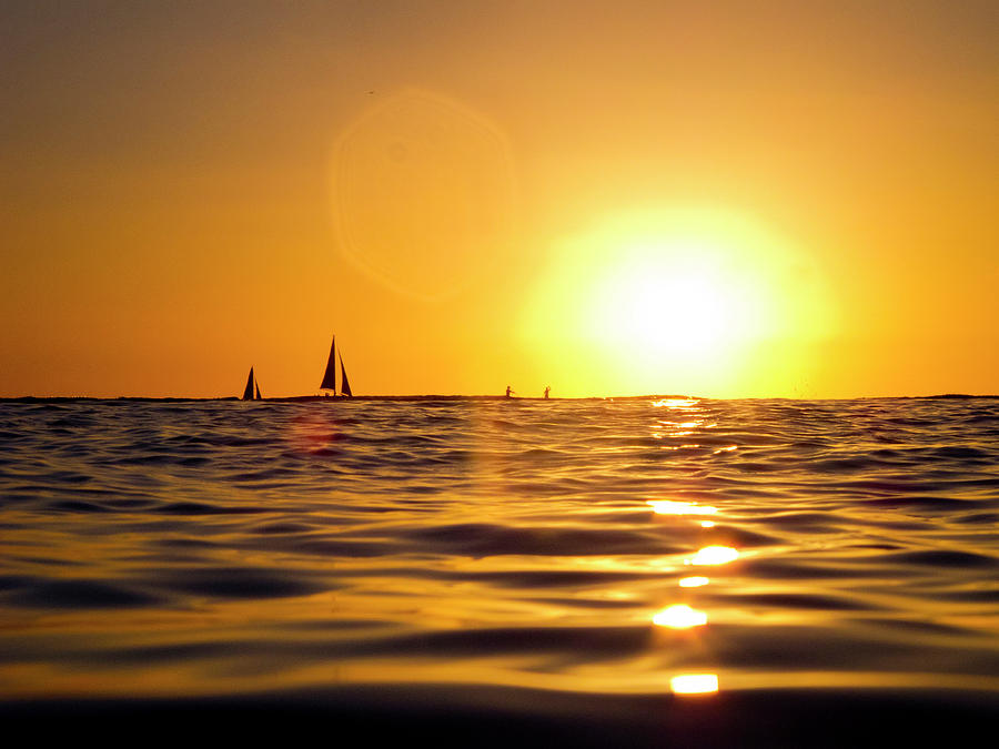 Beauty In Nature Photograph - Sunset Over The Water In Waikiki by Elyse Butler