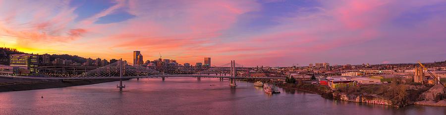 Tilikum Crossing Photograph - Sunset Over Tilikum Crossing by David Gn