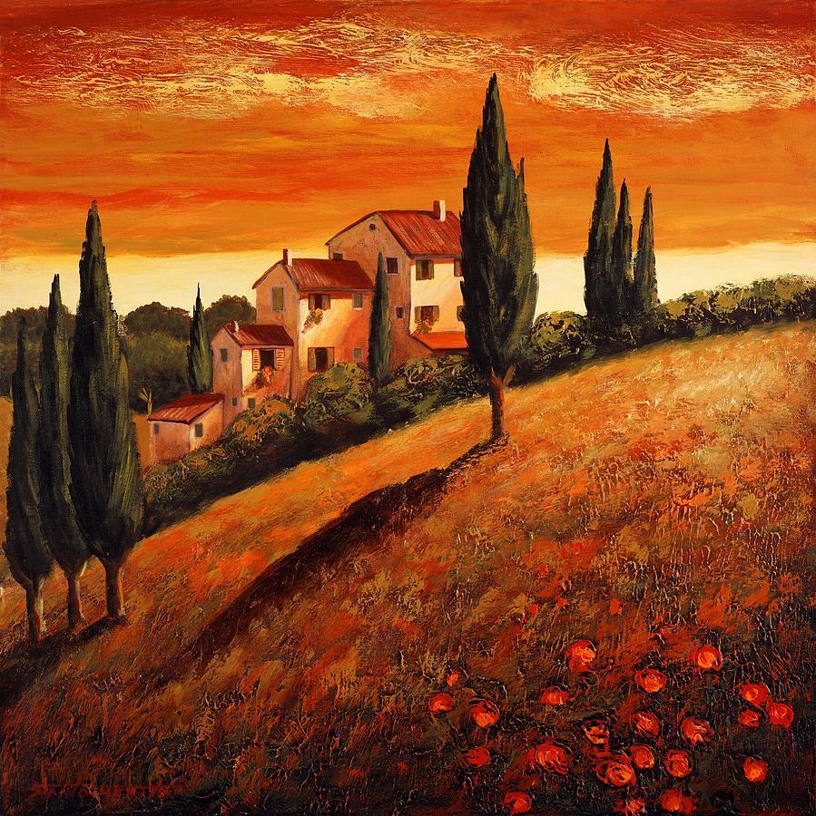 Sunset Over Tuscany 1 Painting By Santo De Vita