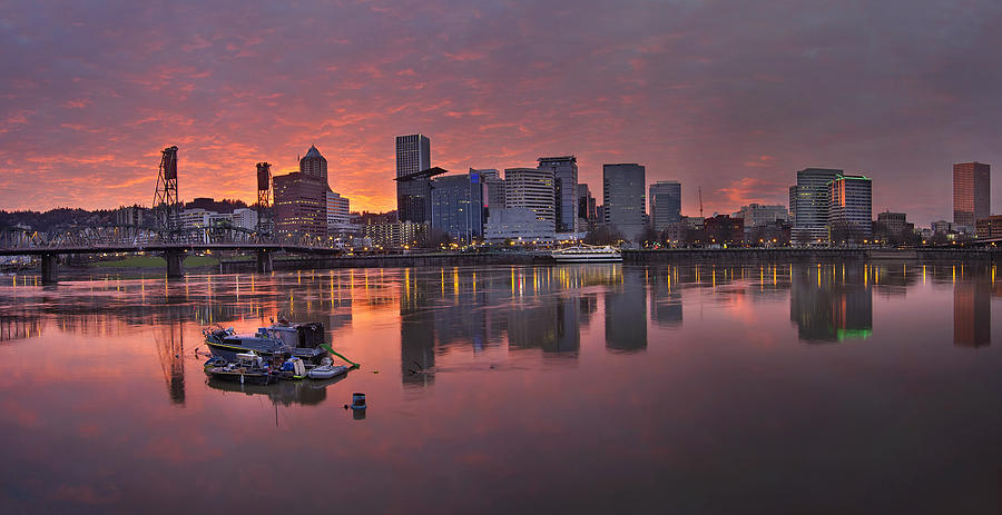 Portland Photograph - Sunset Over Willamette River Along Portland Waterfront by David Gn
