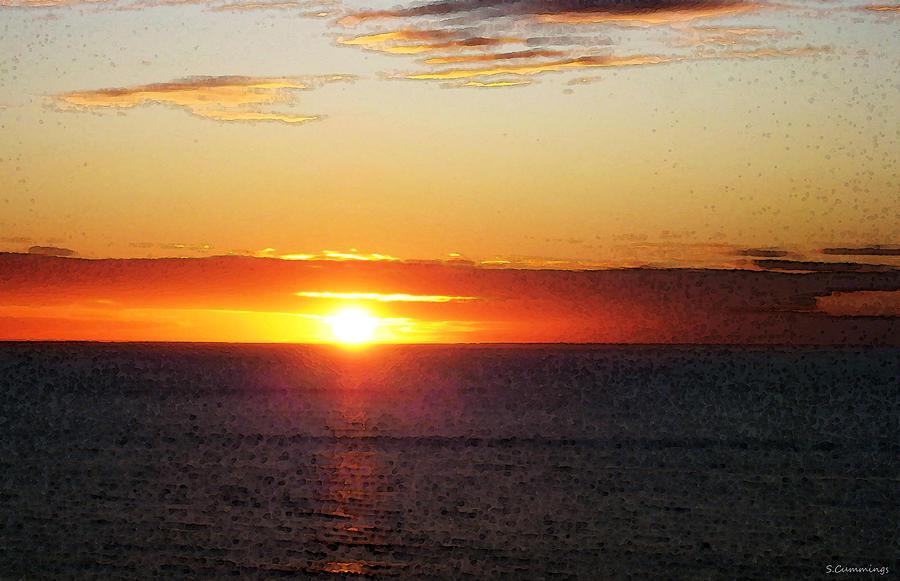 Sunset Painting Orange Glow Painting By Sharon Cummings