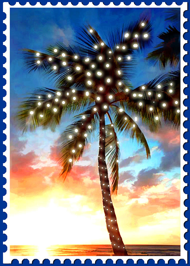 wreath painting sunset palm tree with xmas lights stamp by elaine plesser - Palm Tree Christmas Tree