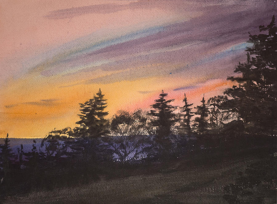 Watercolor Painting - Sunset by Peggy Poppe