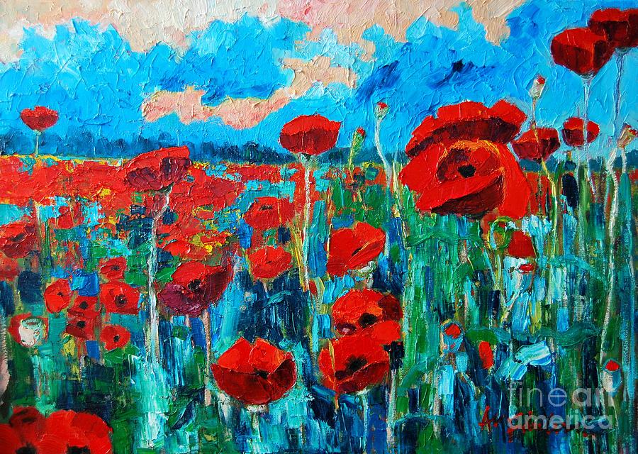Floral Painting - Sunset Poppies by Ana Maria Edulescu
