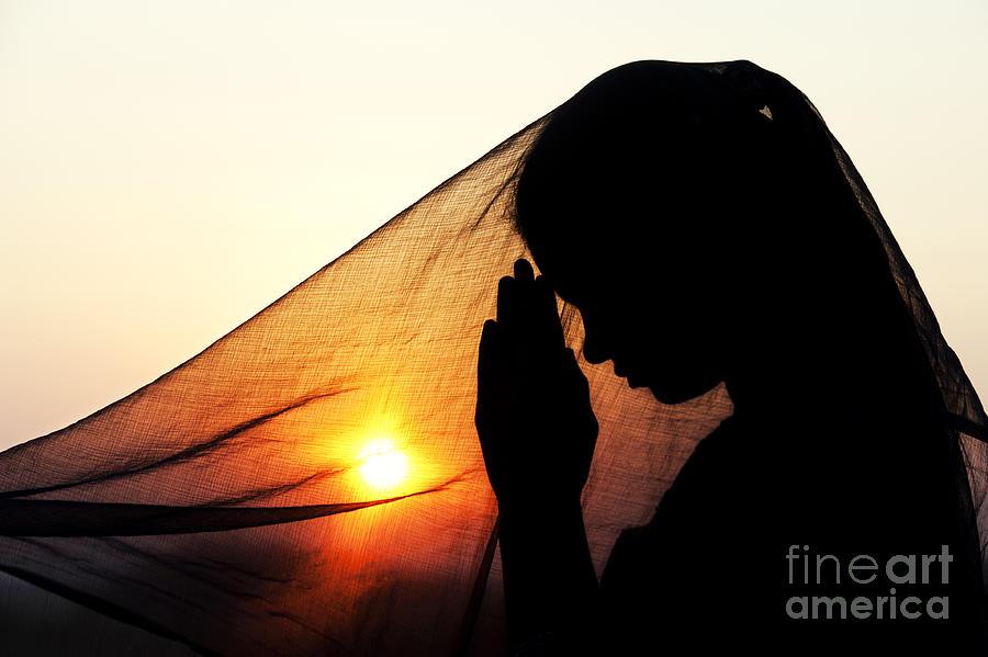 Girl Photograph - Sunset Prayers by Tim Gainey