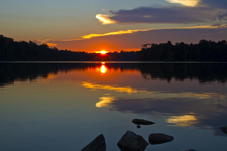 Sunset Photograph - Sunset Reflection On The Lake by David Gn