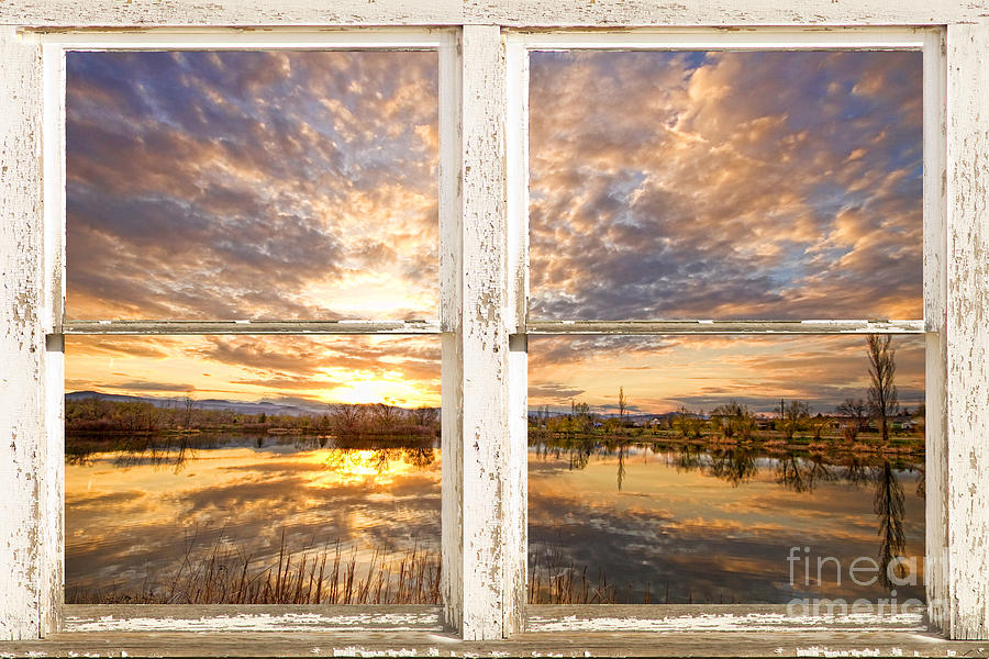 Window Photograph - Sunset Reflections Golden Ponds 2 White Farm House Rustic Window by James BO  Insogna