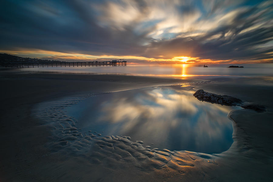 La Jolla Photograph - Sunset Reflections In San Diego Landscape Version by Larry Marshall