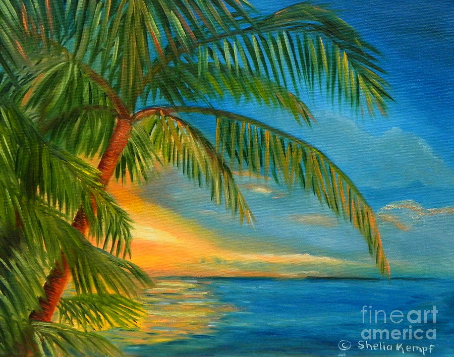 Sunset reflections key west sunset and palm trees for Painting palm trees