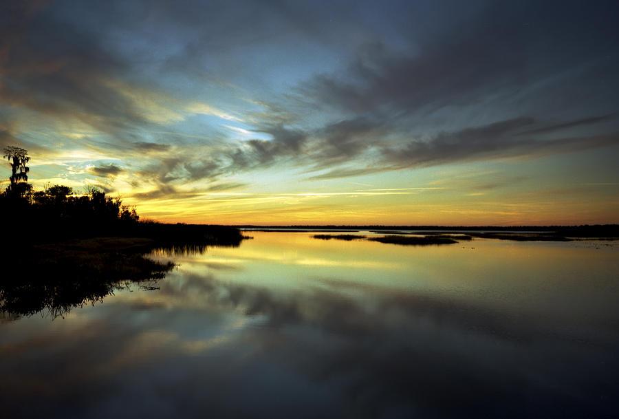 Blue Cypress Photograph - Sunset Reflections. Lake Gentry. by Chris  Kusik
