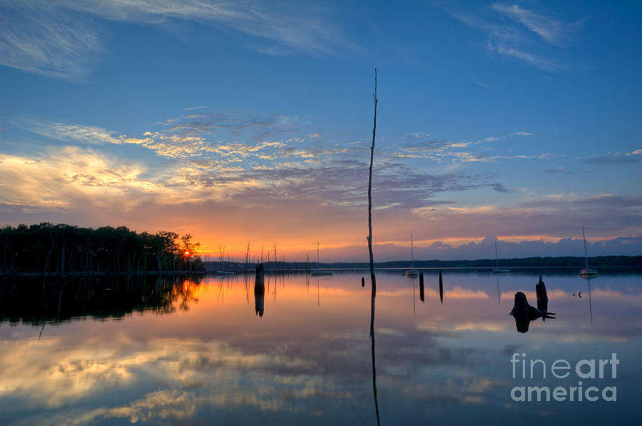 Manasquan Reservoir Photograph - Sunset Reflections by Michael Ver Sprill