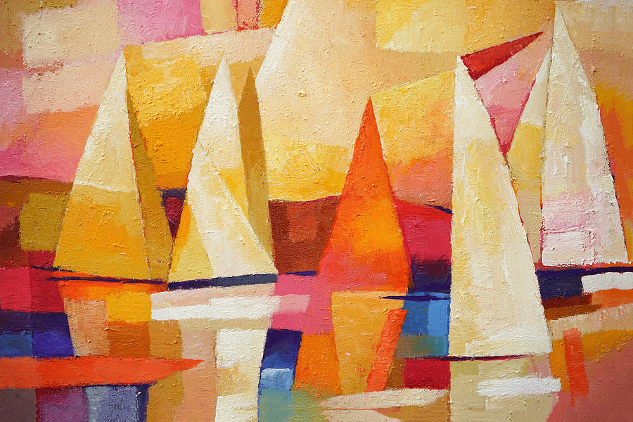Sunset Sailboat Painting - Sunset Regatta by Lutz Baar