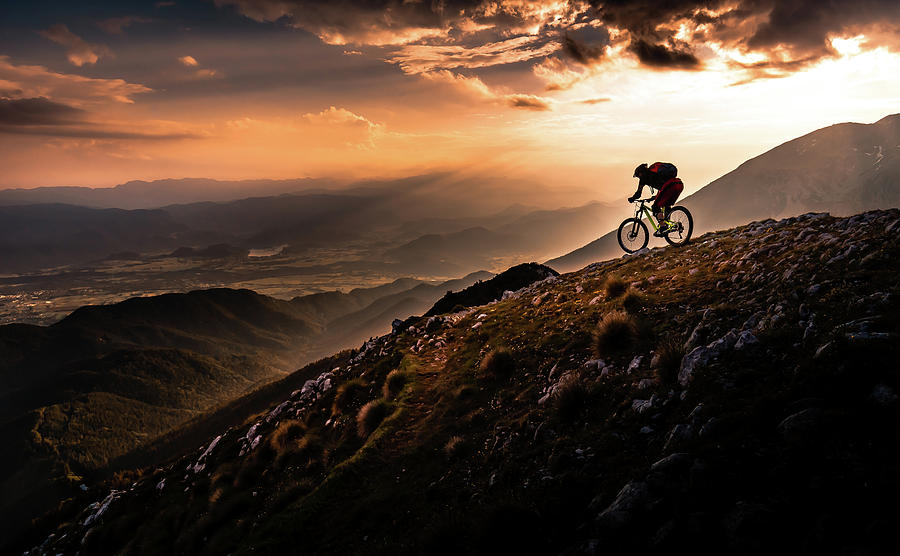 Action Photograph - Sunset Ride by Sandi Bertoncelj