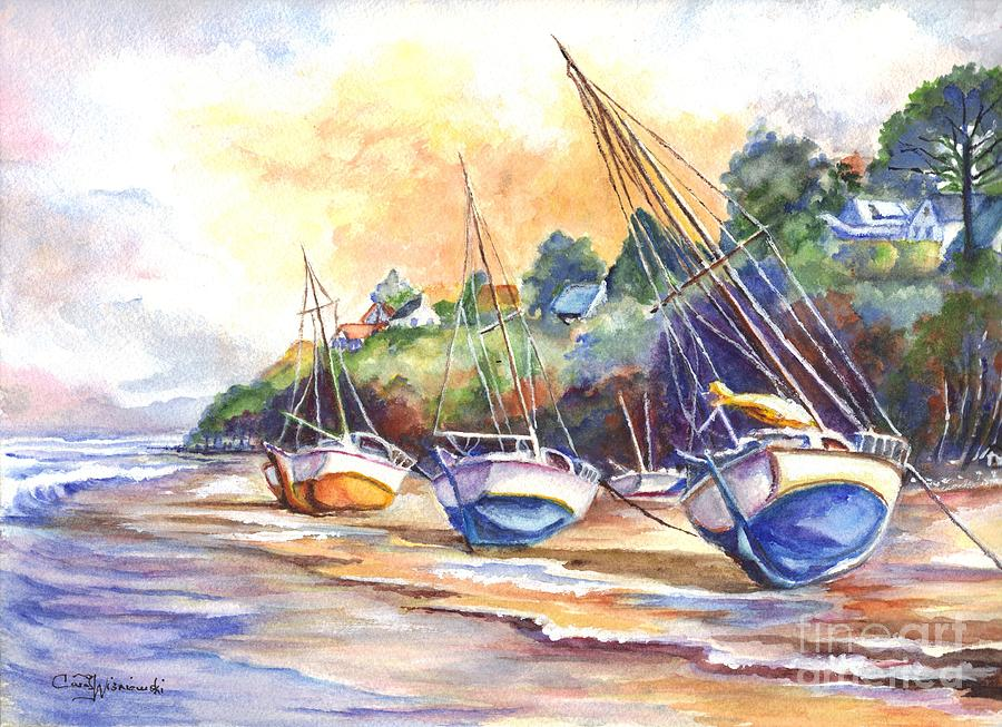 Hand Painted Painting - Sunset Sail On Brittany Beach  by Carol Wisniewski