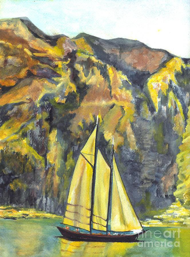 Italy Painting - Sunset Sail On Lake Garda Italy by Carol Wisniewski